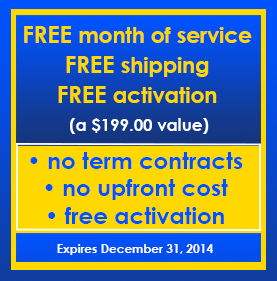 FREE month of service, FREE shipping, FREE activation